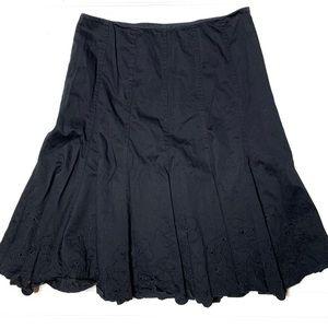 Karen Millen sz 4 black embroidered A-line skirt